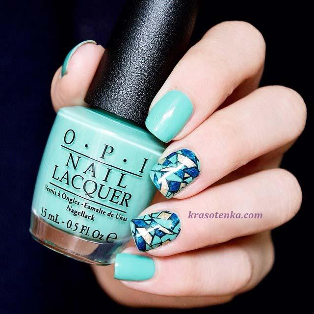 стемпинг для ногтей - голубая абстракция