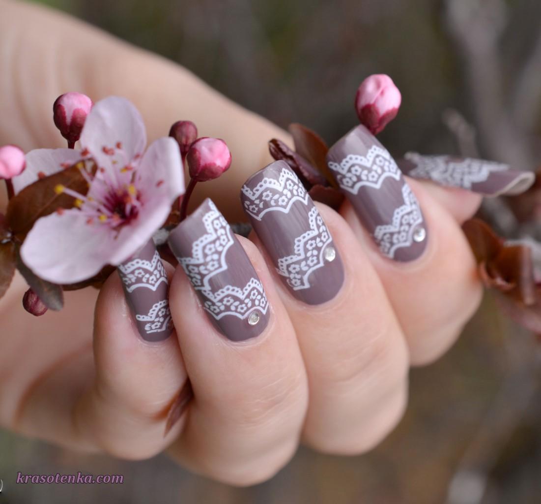 стемпинг для ногтей - кружево