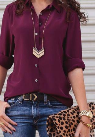 Рубашка цвета марсала с длинным украшением