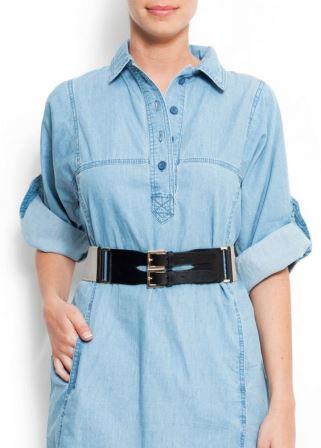 Джинсовая рубашка с поясом