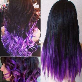 Фиолетовые кончики волос