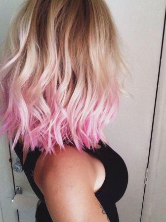 Окрашенные мелом кончики волос