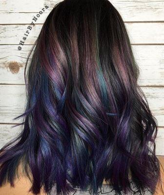 Легкий фиолетовый оттенок кончиков волос