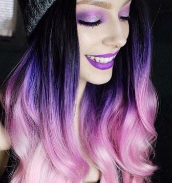 Яркие фиолетовые волосы омбре