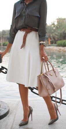 Расклешенная юбка белого цвета