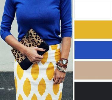 Сочетание синего и желтого в одежде