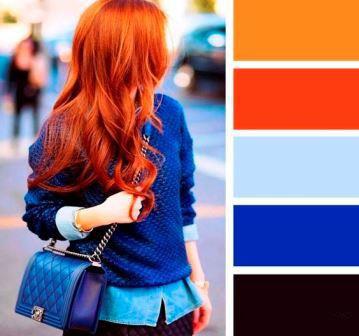 Сочетание ярко-красного и темно синего в одежде