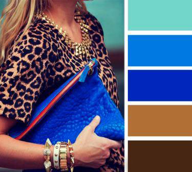 Сочетание синих и коричневых цветов